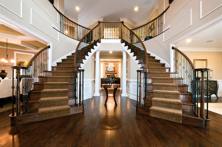 Stairs Loudoun Stairs   Dual Staircase House Plans   Colonial   Design   Upstairs Master Suite House   Luxury Library 5 Bed House   Medium Size