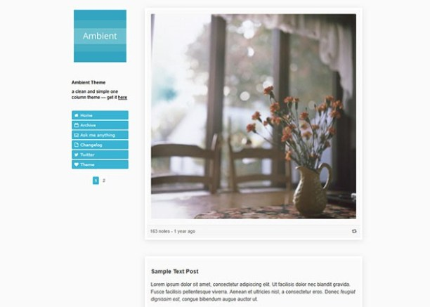 Ambient free tumblr theme