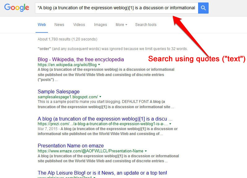 How to Find copied content from your blog on search engine