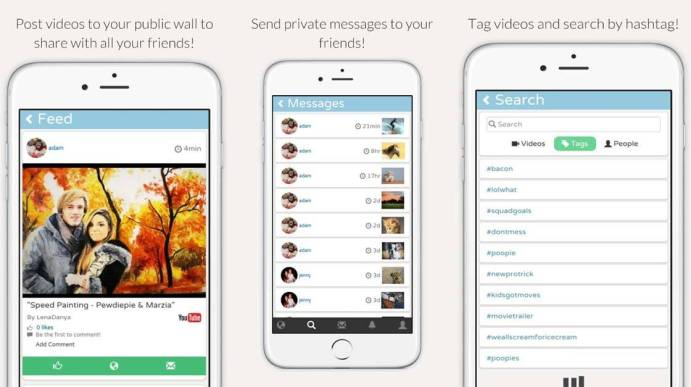 Post on your wall, send messages and search by hashtag
