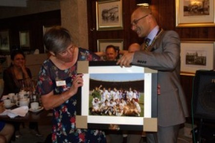 President Pesh presents Deborah Hall a special gift that any West Ham supporter would be proud of!