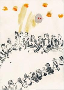 """Teckning """"Runda: fiktiv bordsdam"""". Många personer sitter i en ring. Teckning: Rebecka Bebben Andersson"""