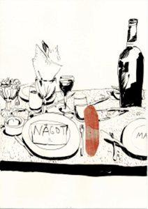 """Teckning """"Fuskpälsklädda bord rullas in/fiskar faller från taket"""". Teckning på ett middagsbord, med tallrikar, bestick, vinglas, vinflaska. På tallriken ligger en lapp som det står """"något"""" på. Teckning: Rebecka Bebben Andersson"""