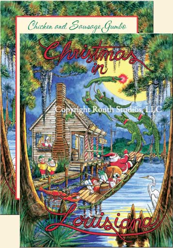 Louisiana Cajun Christmas Cards Santas Swamp Christmas Cabin