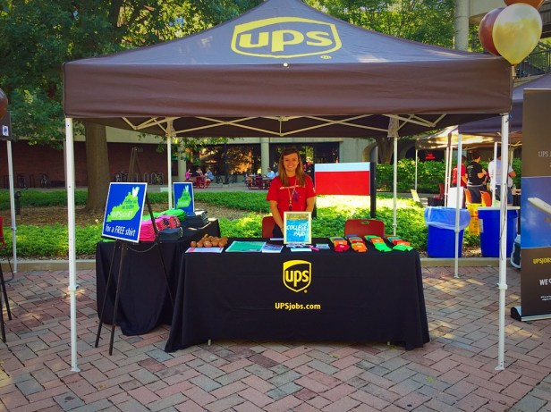 UPS booth outside of the Red Barn.
