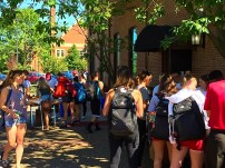 Students gathered around the Red Barn for UPS Day.