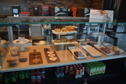 The Ekstrom Starbucks' bakery items and juices.