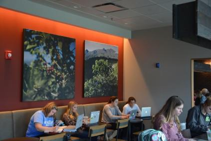 Students gather in the new study spaces provided.