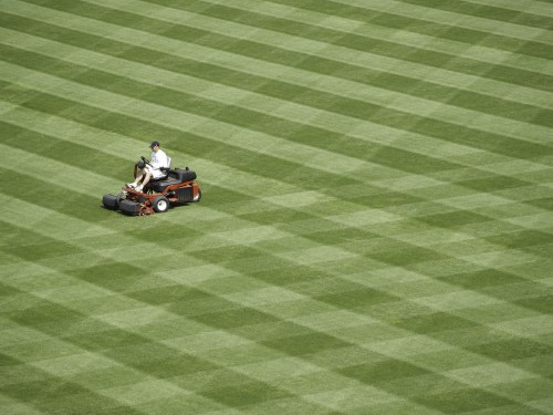 Workman readies a baseball field for the season. Turk Kings