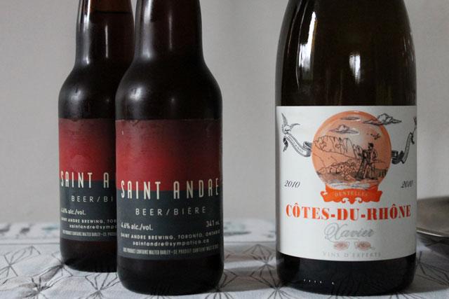 saint-andre-beer-and-xavier-cote-du-rhone-wine