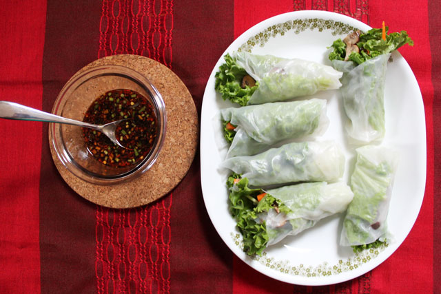 Homemade Salad Rolls and Asian Dipping Sauce aka Fresh Spring Rolls