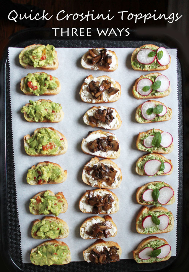 quick vegetarian party food crostini toppings three ways appetizers