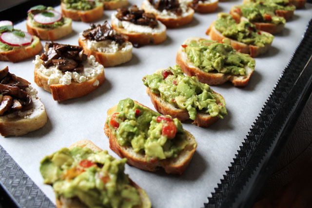 three-crostini-topping-recipes vegetarian hors d'oeuvres appetizers