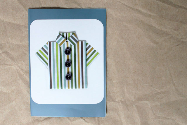 handmade-greeting-card-for-a-man-fathers-day-card-origami-folded-paper-shirt-with-buttons
