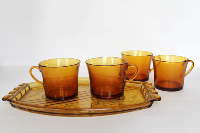 thrifted-amber-glass-pieces