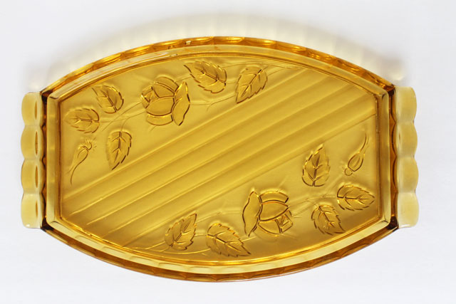 thrifted-amber-pressed-glass-platter
