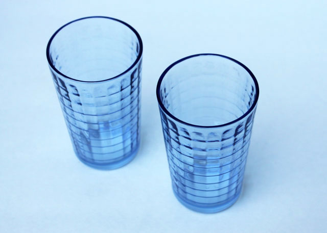 thrifted-blue-pressed-glass-small-drinking-glasses