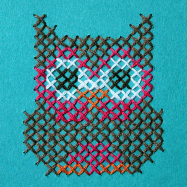 owl-cross-stitched-on-paper-handmade