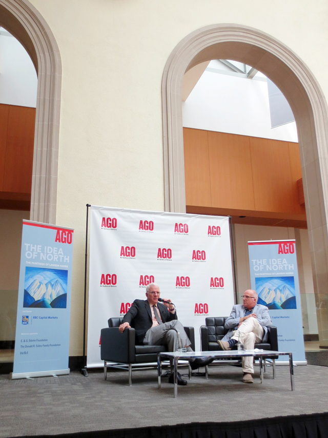steve-martin-at-the-ago-with-andrew-hunter-discussing-lawren-harris-exhibition