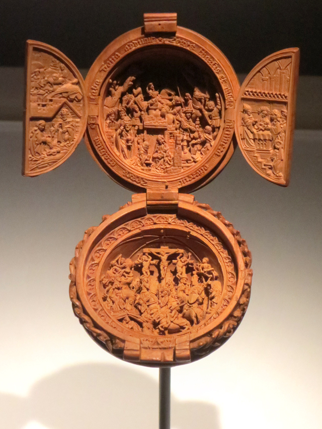 close-up-of-small-wooden-carving-prayer-bead-at-ago-toronto-small-wonders-gothic-boxwood-miniatures-exhibition