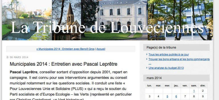 Interview sur le blog « La Tribune de Louveciennes »