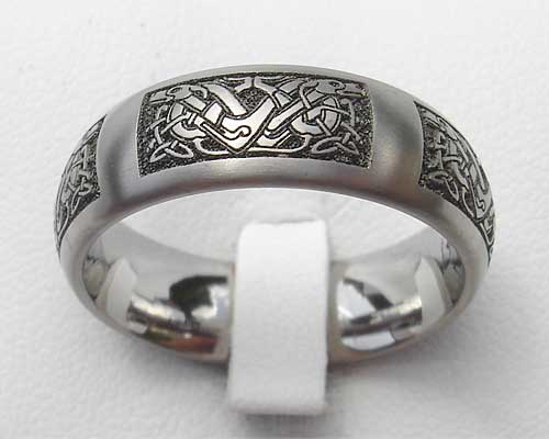 Domed Celtic Dog Titanium Ring LOVE2HAVE In The UK