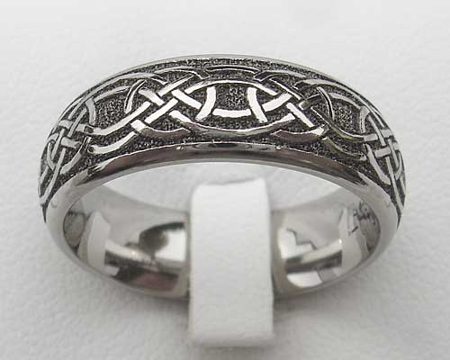 Mens Modern Titanium Celtic Wedding Ring LOVE2HAVE In