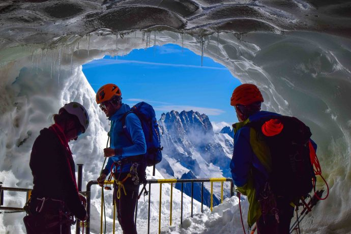 Climbers Prepare in the Midi Ice Tunnel. Photo: Kate Jamieson
