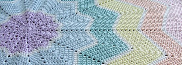 Celeste Young Rainbow Ripple Baby Blanket Crochet