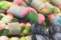 Merino Handdyed Yarn in Shades of Green, Pink and Yellow for Crochet and Knitting