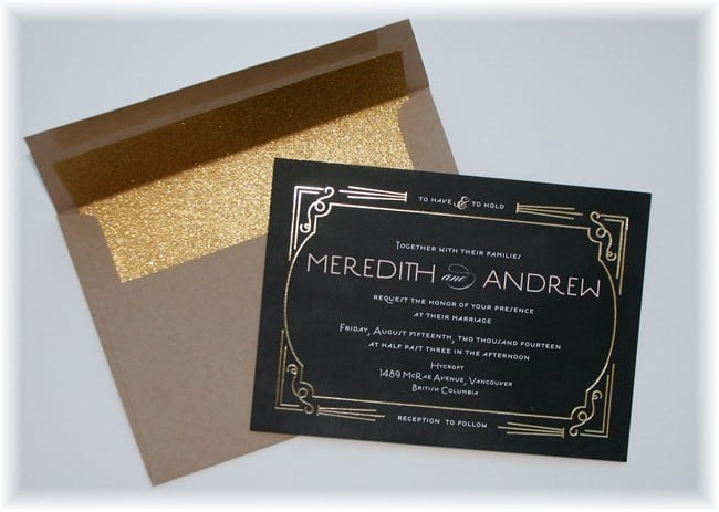 Minted Foxtrot Gold Foil Wedding Invitaitons With Sparkly Envelope Insert