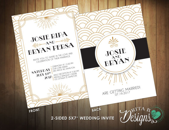 Great Gatsby Inspired Wedding Invitation