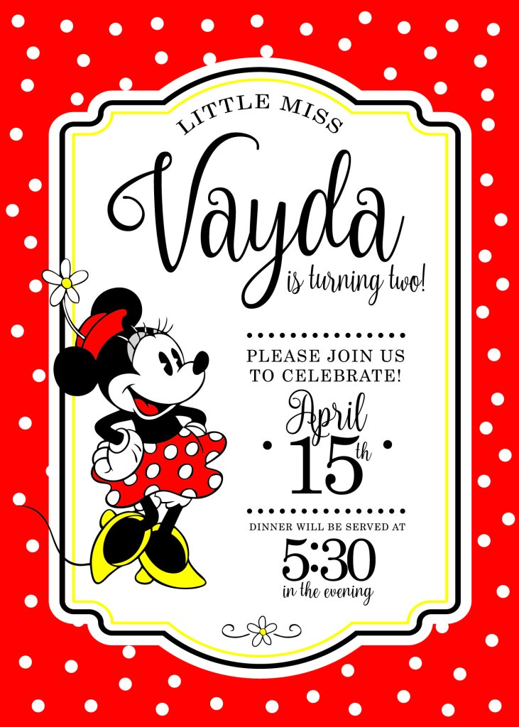 Classic Minnie Mouse Birthday Invite | www.loveandmessiness.com