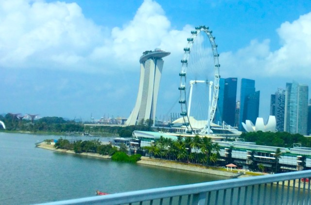 My first glimpse of the Marina Bay area Singapore