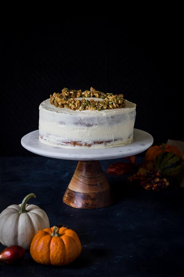 Gluten free pumpkin layer cake with cream cheese frosting