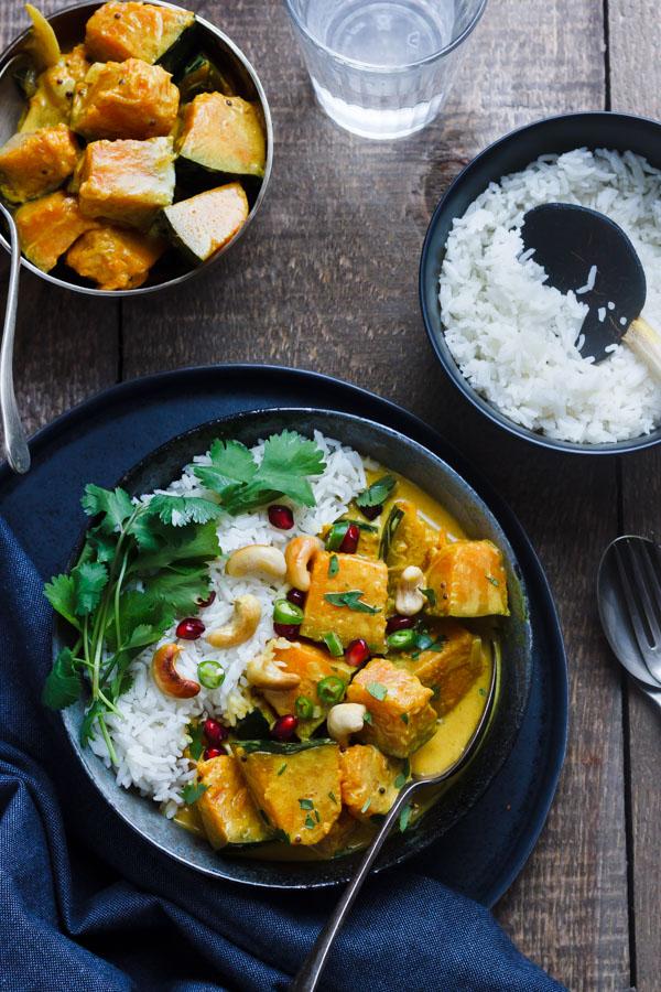 Sri Lankan Pumpkin Curry with rice