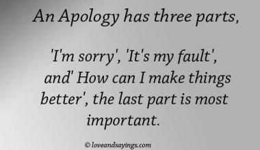 An Apology has Three parts