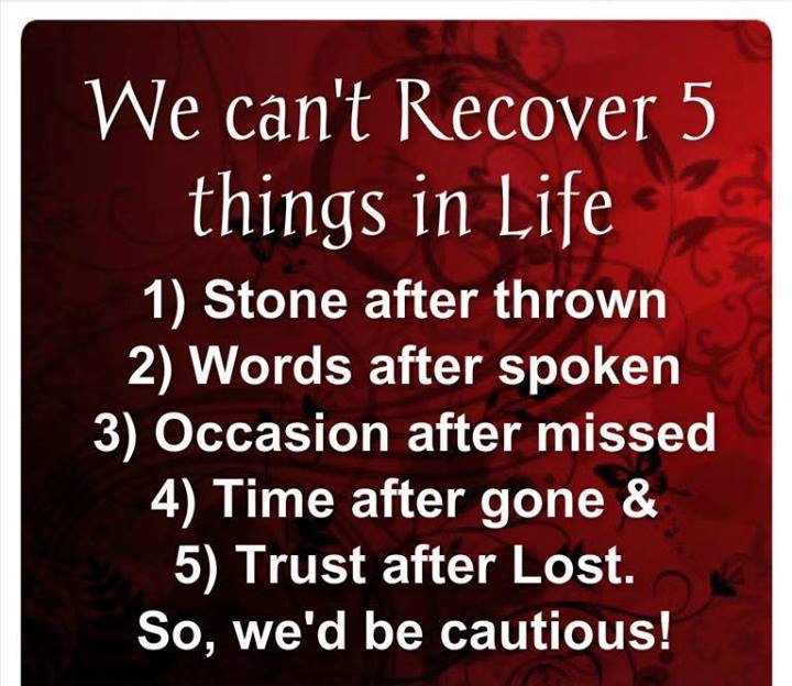 We Can't Recover 5 Things In Life
