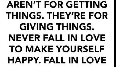 Relationships are not for getting Things