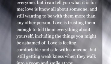 Love Is Know All About Someone