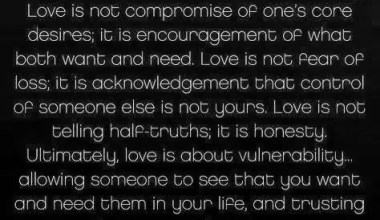 Love Is Not Compromise Of One's