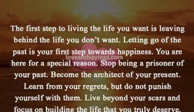 Letting go og the past is your first step towards happiness