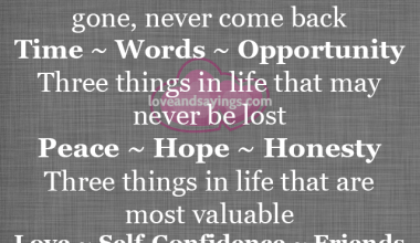 Three things in life that, once gone, never come back
