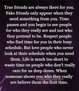 True friends vs Fake friends