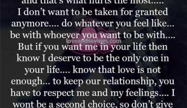 To Keep our relationship