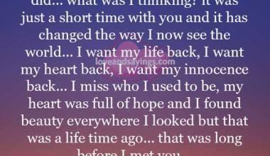I want my innocence back