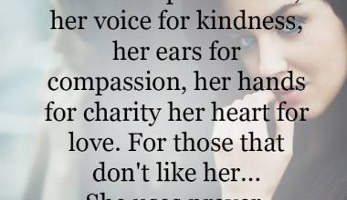Her voice for kindness, her ears for compassion