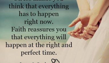 Stress makes you think that everything has to happen right now