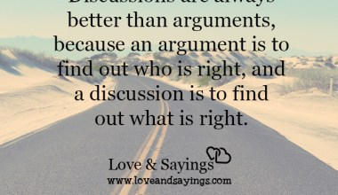A discussion is to find out what is right