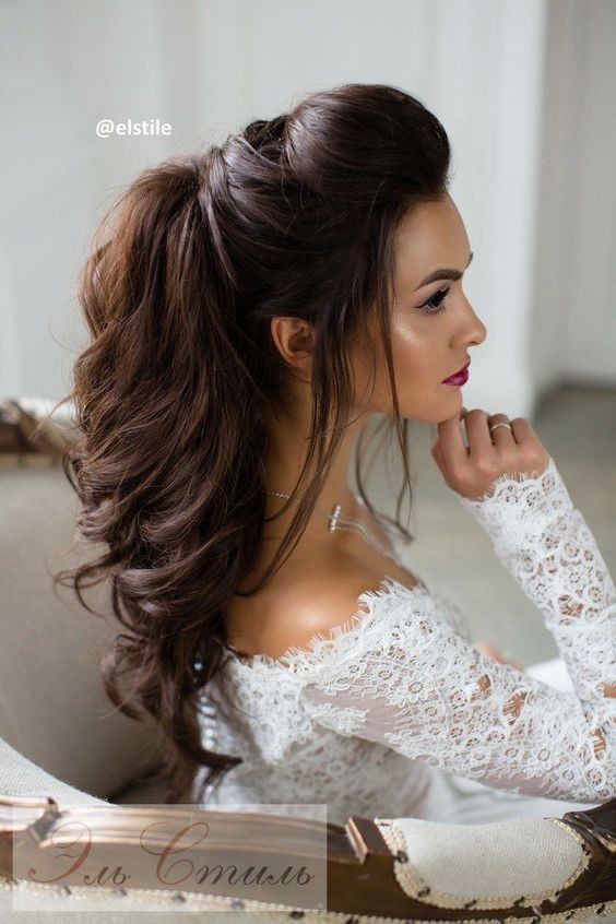 Glossy Brown Quiff with Waved Hair – Long Hairstyles for Wedding